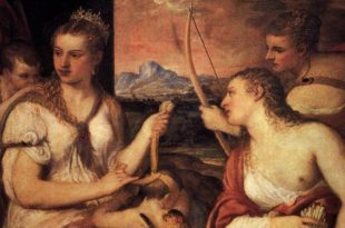 Venus Blindfolding Cupid by Titian in the Borghese Gallery